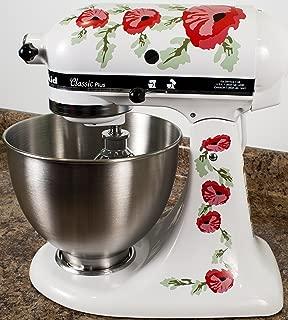 Red Poppy Flowers Watercolor Vinyl Decals for Kitchen Mixers