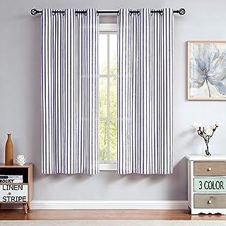 "Linen Stripe Semi Sheer Curtain Panels Living Room Farmhouse Rustic Contemporary Window Treatment Drapery Sets, Blue, 40""x..."