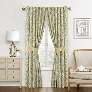 """WAVERLY Raisley Verveine Rod Pocket Curtains for Living Room, Double Panel, 84"""" x 100"""", Spring"""