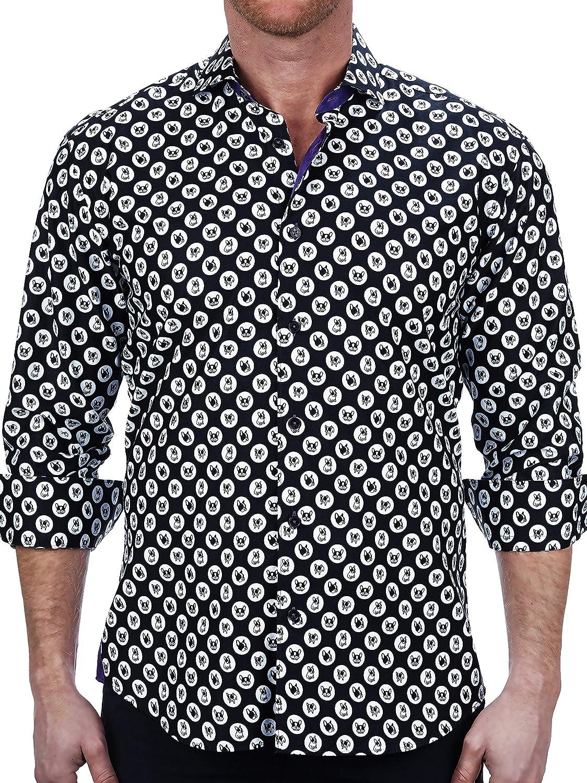 Maceoo Mens Designer Dress Shirt - Stylish & Trendy - Einstein Dotdog Black - Tailored Fit