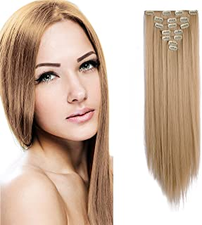 """Onedor 24"""" Straight Synthetic Clip in Hair Extensions. 7 individual pieces for multiple styles.140g (25#-Light Golden Blonde)"""