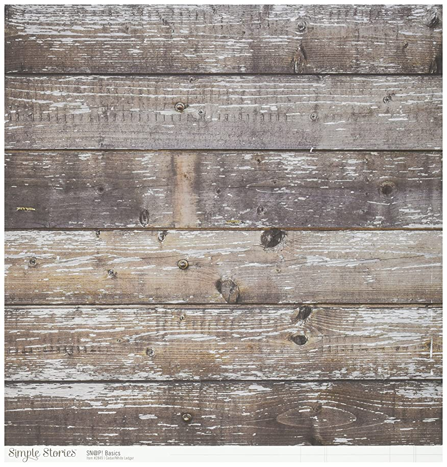 Simple Stories 2849 25 Sheet Cedar/White Ledger Snap Basics Color Vibe Double-Sided Cardstock, 12