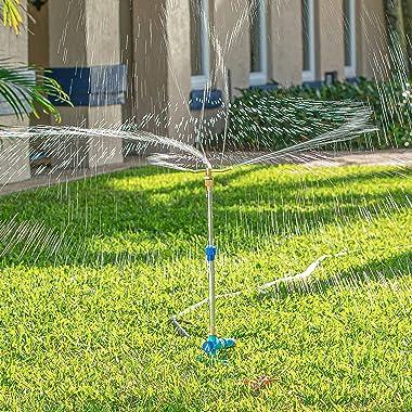 Aqua Joe AJ-ISTAS Indestructible Brass 3-Arm Rotating Sprinkler, w/Telescopic Spike up to 31 Inches