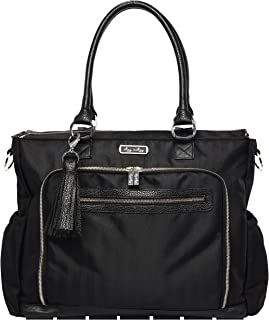 Itzy Ritzy Diaper Bag Tote – Large Capacity Tribe Tote Diaper Bag Featuring 25 Total Pockets, Changing Pad, Stroller Clips and Messenger Bag Strap, Black Herringbone