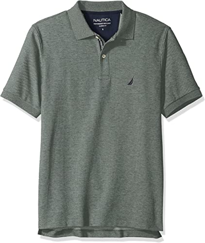 Nautica Hommes's Classic manche courte Solid Deck Polo Shirt, Pine Forest Heather, Medium