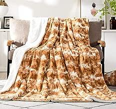 DaDa Bedding Luxury Throw Blanket - Pumpkin Orange Brown Rabbit Faux Fur Sherpa - Super Soft Warm Plush Animal Print - Dreamy Cloud White & Copper Amber - 63