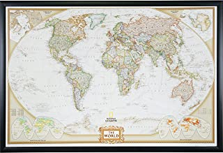 Craig Frames Wayfarer, Executive World Push Pin Travel Map, Gallery Black frame and Pins, 24 by 36-Inch