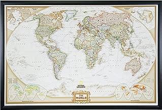 Craig Frames Wayfarer, Executive World Push Pin Travel Map, Gallery Black frame and Pins, 24 by 36-Inch