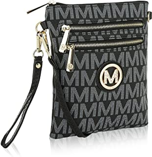 MKF Crossbody Bag for Women Or Wristlet Purse - Removable Strap - Vegan Leather Small Designer Side Messenger, Black
