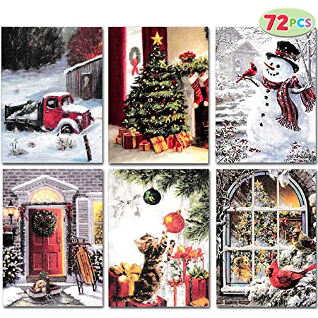 Postcards Pack 24 cards Vintage Christmas Russian New Year Santa Winter CF7001