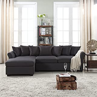 Modern Large Linen Fabric Sectional Sofa, L-Shape Couch with Extra Wide Chaise Lounge (Dark Grey)