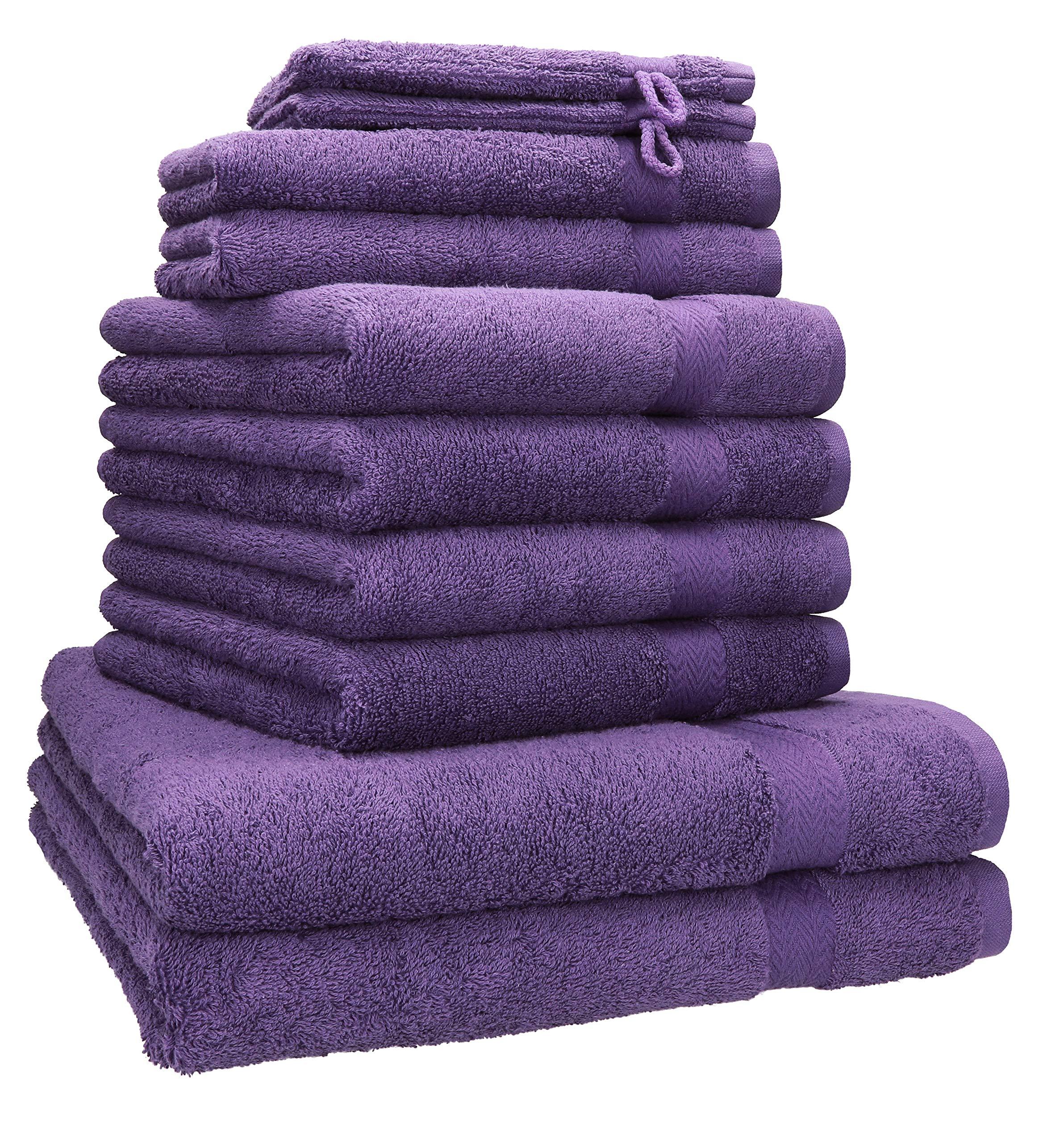 Betz Juego de 10 Piezas de Toallas Premium 100% algodón 2 Toallas de baño 4 Toallas de Mano 2 Toallas Invitados 2 Manoplas de baño Color Morado: Amazon.es: Hogar