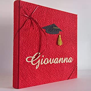 Album fotografico LAUREA in carta luna ROSSO con tocco e nome intagliato in tela di lino personalizzabile regalo diploma l...