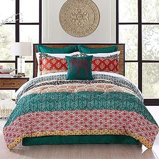 Lush Decor Bohemian Stripe Comforter-Colorful Pattern Boho Style Reversible 7 Piece Bedding Set-King-Turquoise and Orange, Turquoise & Orange