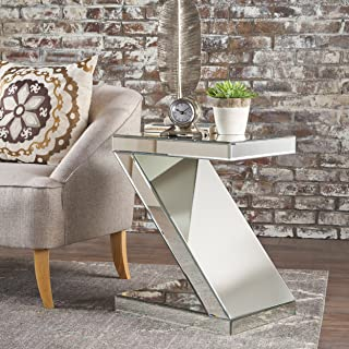 Christopher Knight Home Adu Mirrored Z Shaped Side Table