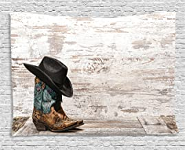 Ambesonne Western Tapestry, Traditional Rodeo Cowboy Hat and Cowgirl Boots Retro Grunge Background Art Photo, Wide Wall Hanging for Bedroom Living Room Dorm, 60