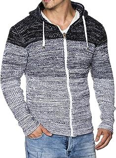 Tazzio Fashion Veste Hommes Tricot Veste Cardigan Hoody Gris Transition Veste