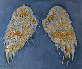 Angel Wings for Nursery Gift Girls Painting Gold Grey Gray Art CANVAS Artwork Wall Decor Textured Gold Living Room Bedroom Christmas Original Oil 19x23