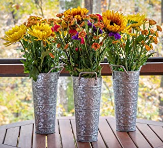 """French Flower Bucket Galvanized Vase – 9"""" Set of 3 by Walford Home – Farmhouse Decorative Vases for Decor - Dogwood Blossom - Table Centerpiece Rustic Home Decor Metal Flower Vase Table Decor"""