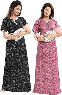 d5ce23f548 TUCUTE Women Beautiful Print Poly-Cotton Invisible Zip Pattern  Feeding/Maternity/Nursing Nighty
