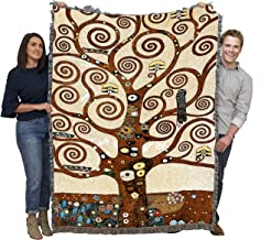 Pure Country Weavers - Stoclet Frieze Tree of Life Large Soft Comforting Gustav Klimt Throw Blanket and with Artistic Textured Design Cotton USA 72x54