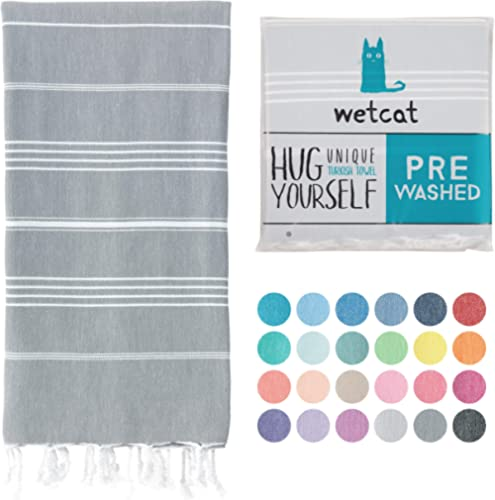 WETCAT Turkish Bath Towels (38 x 71) - Prewashed for Soft Feel, 100% Cotton - Quick Dry Beach Towel with Lively Color...