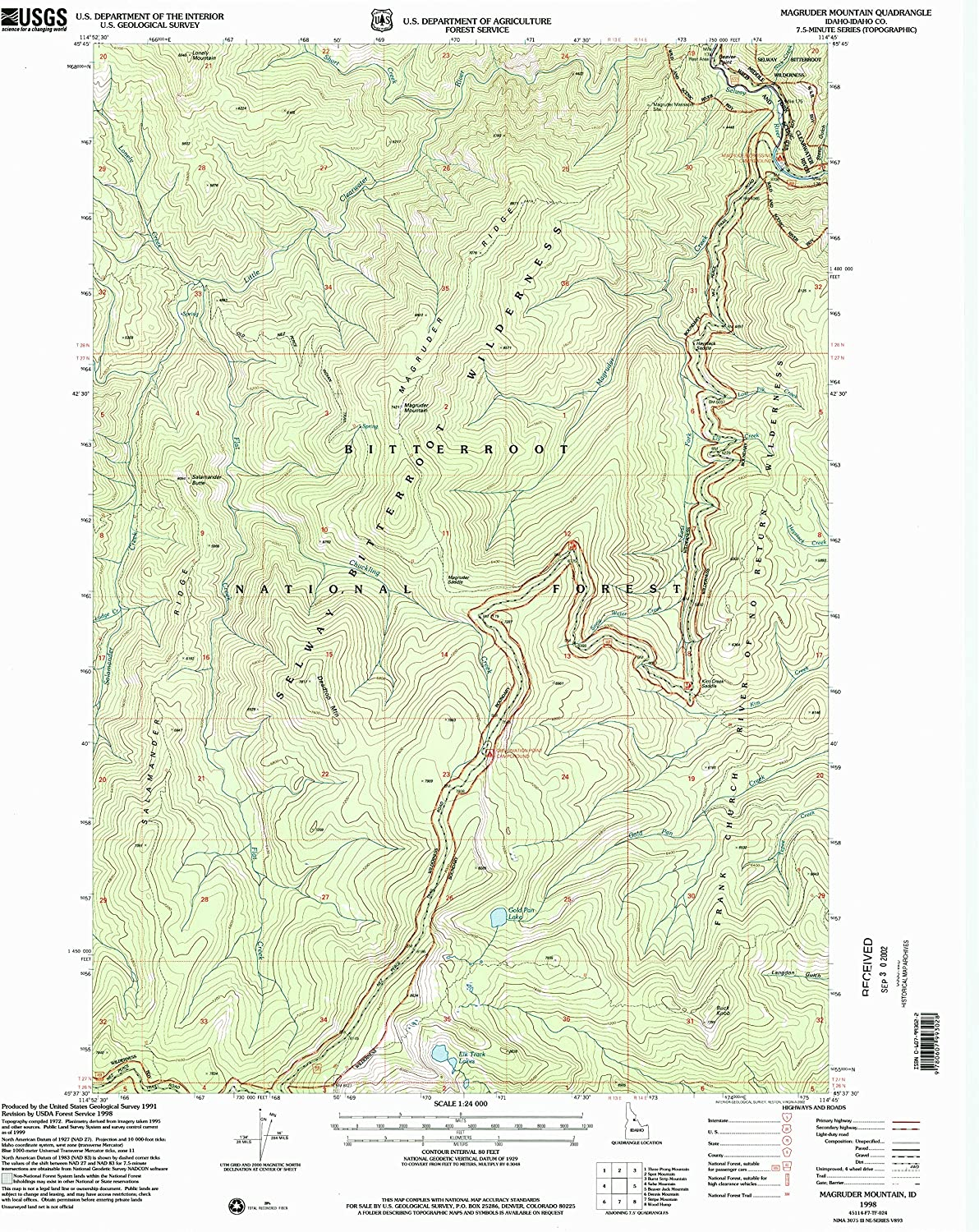 Magruder Mountain ID topo map, 1 24000 Scale, 7.5 X 7.5 Minute, Historical, 1998, Updated 2002, 26.8 x 22 in