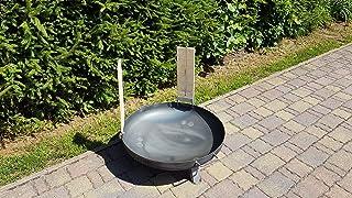Czaja Feuerschale Durchmesser 80 cm mit 2 er Set Flammlachsbrettern 2er Set Räucherbrett aus Buchenholz inkl. Edelstahlhalterungen