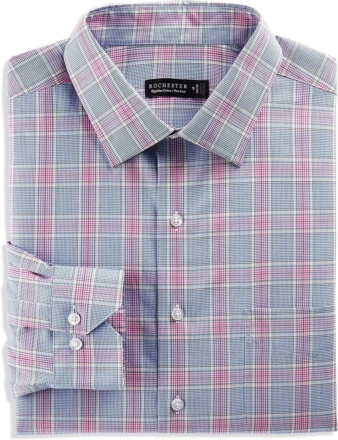 Rochester by DXL Big and Tall Large Multi Plaid Dress Shirt, Multi