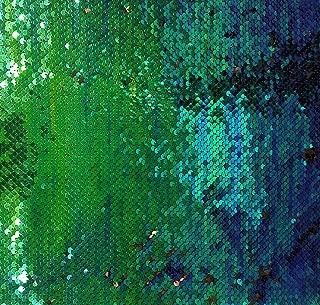 Reversible Sequin Fabric - Royal Blue/Jade Green/Black 2-Tone Reversible Iridescent Mermaid Scales 54
