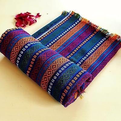 "Secret Sea Collection Bohemian Multicolor Striped Cotton Small Square Tablecloth, Picnic Outdoor Blanket, Throw, Washable, Reversible, Design: Deep Sea (40"" x 40"")"