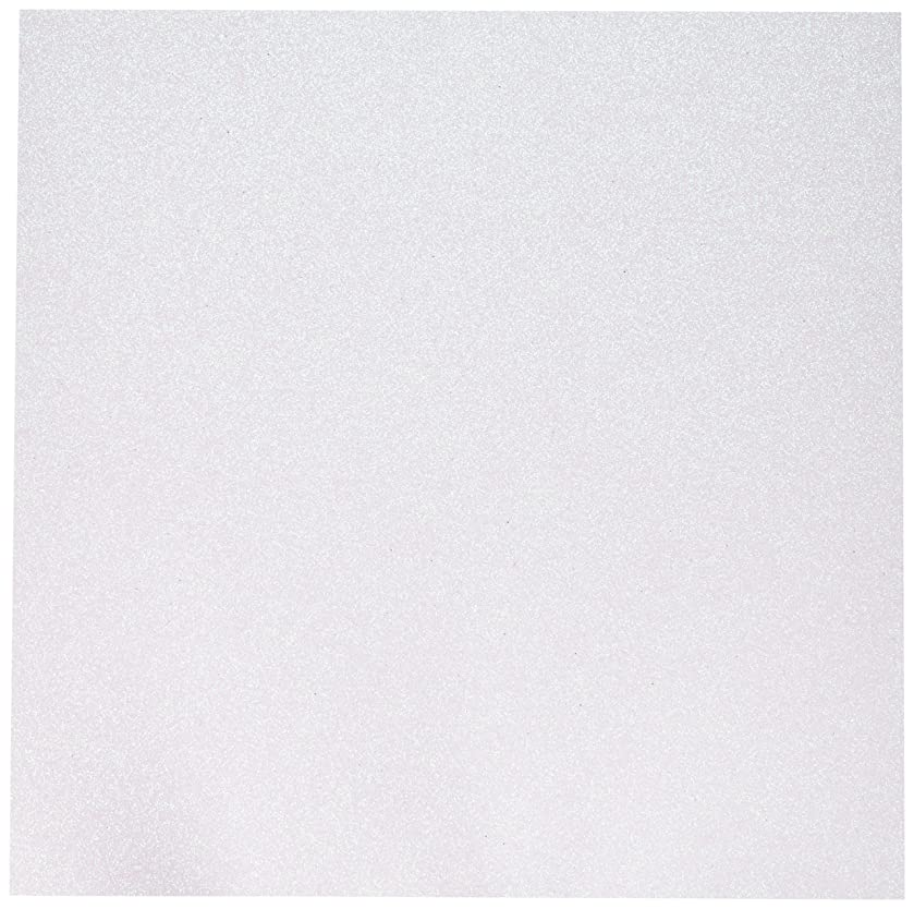 American Crafts Glitter Cardstock, 12 by 12-Inch, White (15 sheets per pack)