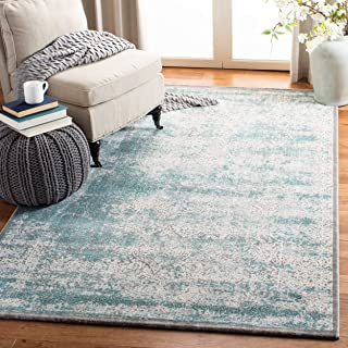 Safavieh Passion Collection PAS401B Vintage Medallion Watercolor Turquoise and Ivory Distressed Area Rug (4' x 5'7