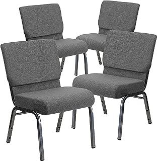 Flash Furniture 4 Pk. HERCULES Series 21''W Stacking Church Chair in Gray Fabric - Silver Vein Frame