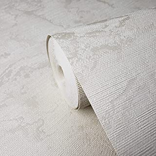 Portofino Textured Italian wallcoverings Modern Embossed Vinyl Made in Italy Wallpaper Ivory Faux Rusted Sackcloth Fabric Textile Texture Horizontal Stria Lines Plain Wall coverings (Roll 75 sq ft)