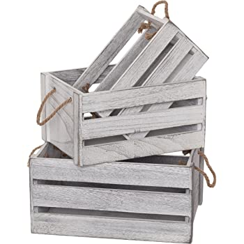 SLPR Decorative Storage Wooden Crates (Set of 3, Rope Handles) | Farmhouse Wood Box for Storage | Rustic Country Decor