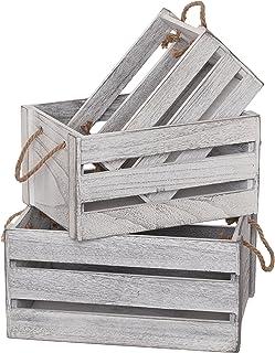SLPR Cajas de madera de almacenamiento decorativo (juego de 3, manijas de cuerda) | Perfecto para arreglos florales Jardinería Boda Vintage País Estilo rústico Estilo angustiado