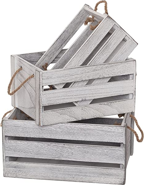 SLPR Decorative Storage Wooden Crates Set Of 3 Rope Handles Perfect For Floral Arrangements Gardening Wedding Vintage Country Chic Rustic Distressed Style