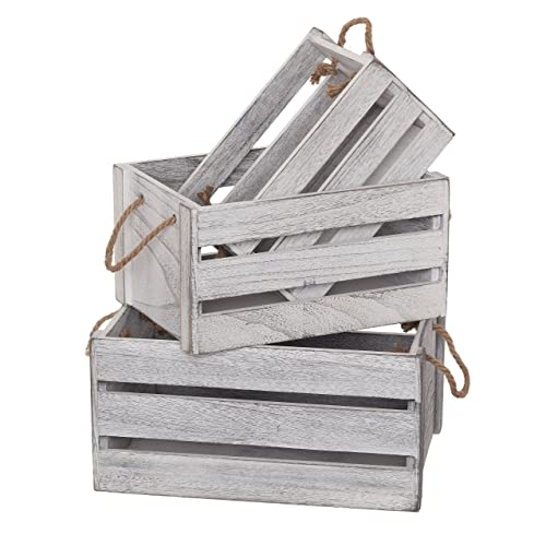 small white wooden crate with rope handles wedding centerpiece shabby chic