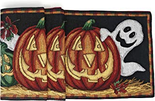 Candy Corn Bats Witch Legs Ghosts Witches Pumpkins Witch Hats Halloween Log Cabin HandMade Quilted Table Runner Halloween Table Runner