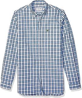 Lacoste Mens Long Sleeve Poplin Stretch Gingham Woven Slim Button Down Shirt