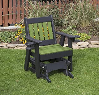 Ecommersify Inc Tropical Lime Green-Poly Lumber Mission Poly Resin 2 FEET Patio Garden Traditional Glider with Cupholder arms Heavy Duty Everlasting - Made in USA - Amish Crafted