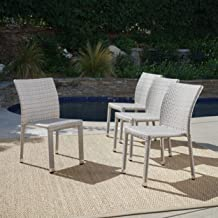 Dorside Outdoor Chateau Grey Wicker Armless Stacking Chairs with an Aluminum Frame (Set of 4)