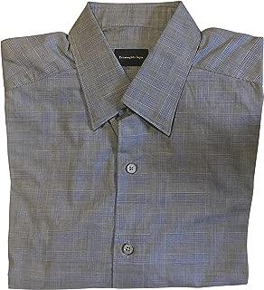 Ermenegildo Zegna Navy Houndstooth Plaid Dress Shirt Size Medium