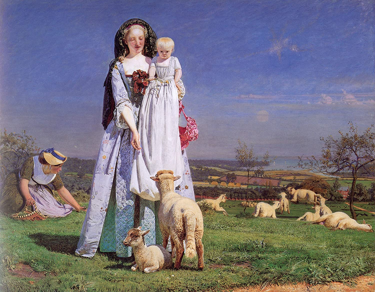 The Pretty Baa Lambs By Ford Madox Brown 16 X 20 Premium Canvas Print Posters Prints