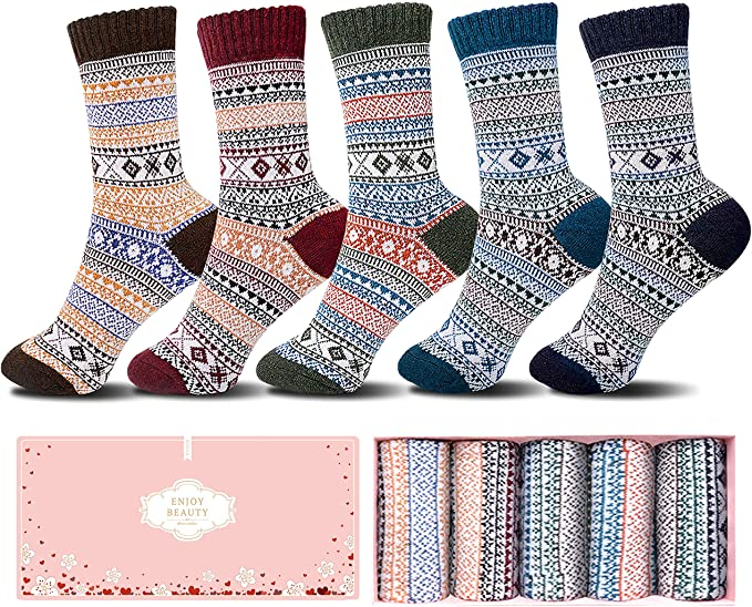 5 Pack Thick Knit Vintage Winter Warm Cozy Crew Socks Gifts Multicolor With Box