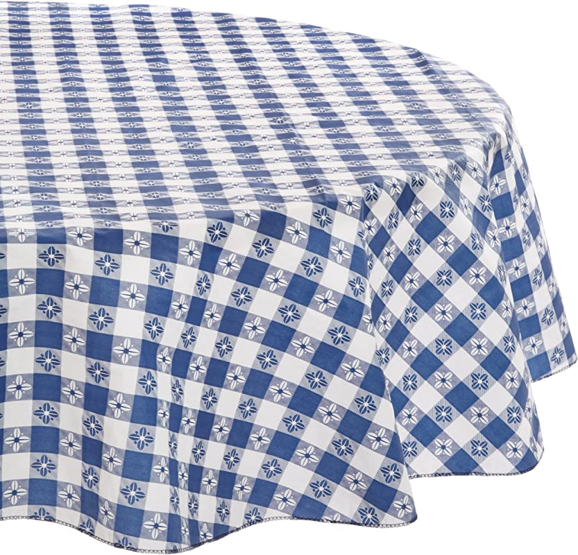 DII Kane Home Products Eco Vinyl Tablecloth Blue Check 60 Inch Round