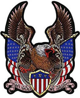 Federal Eagle Shield Patch | Large US Flag Military Patriotic Embroidered in God We Trust - by Nixon Thread Co. (12.5