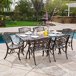 Christopher Knight Home 296592 Odena Outdoor Cast Aluminum Dining Set - 7 Piece Rectangular Table and Patio Chairs Garden Furniture Set