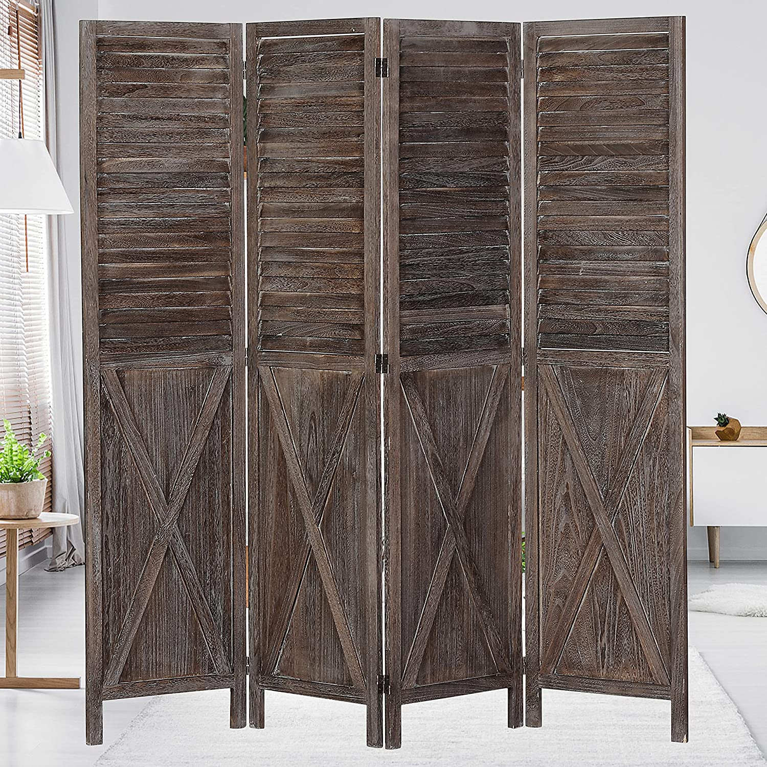 Wnutrees 4 Panel Rustic Mail order cheap Wood Room Farmhouse Divider 5.8 Tall security Ft